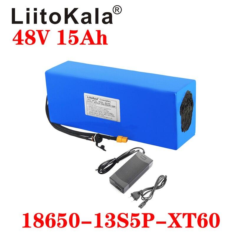 LiitoKala 48 فولت 15AH بطارية حزمة 48 فولت 15AH 1000 واط دراجة كهربائية بطارية 48 فولت بطارية أيون الليثيوم 30A BMS وشاحن 2A