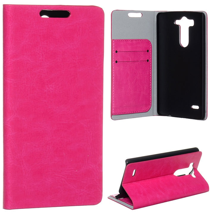 Cartera Premium con ranura de tarjeta de soporte de vena de cristal, funda abatible de cuero PU de lujo para LG G3 S/Beat G3 Mini D725, funda trasera de piel de 5 colores