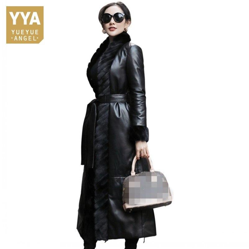Elegant Genuine Fashion Leather Down Jacket Women Long Slim Sashes V-Neck Spliced Mink Fur-Collar Co