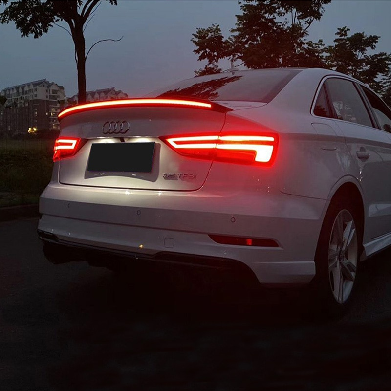 Tail Wing FOR Audi A4 A4L LED Lights Spoiler Accessory 2017-2019 ABS Car Trunk Black Spoiler