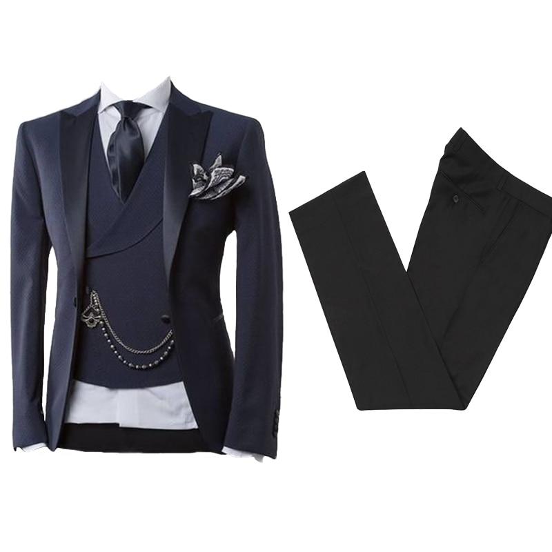 Мужской костюм с брюками темно-синий мужской блейзер деловые облегающие свадебные костюмы для мужчин для выпускного вечера официальный см...