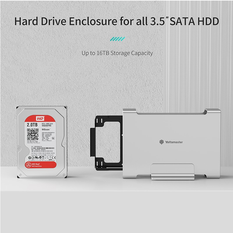Yottamaster DR1C3-35 HDD/SSD Case SATA3.1 Gen2 10Gbps Max UASP Supported 3.5'' 16TB Max Type-C External Hard Drive Enclosure enlarge