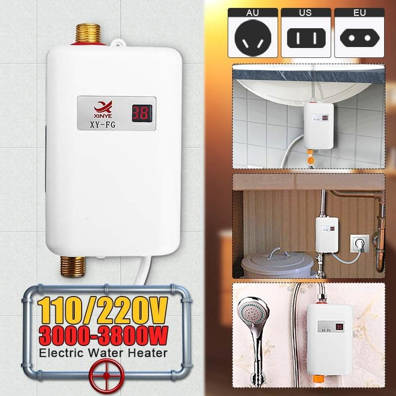 3800W Water Heater Bathroom Kitchen Instant Electric Hot Water Heater Tap Temperature Display