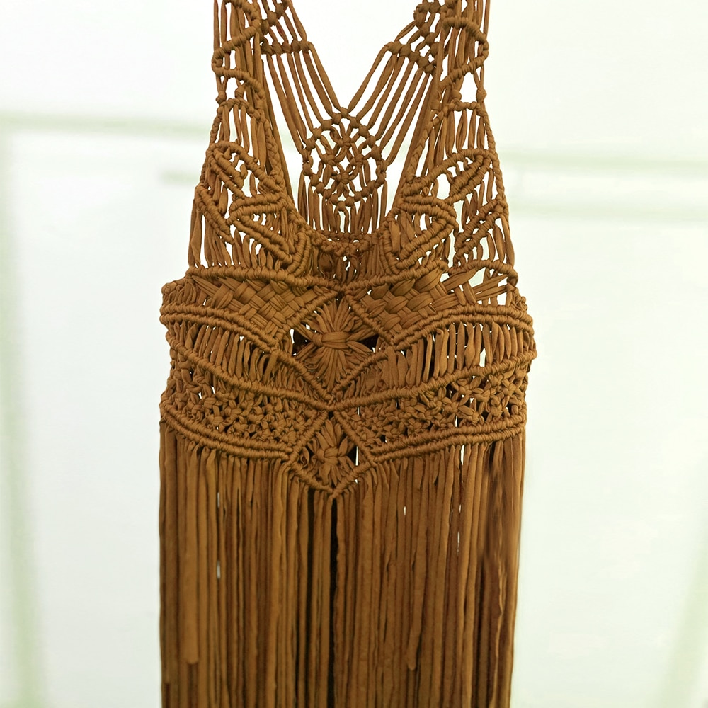Don&Judy Macrame Dress Handmade Boho Maternity or Non-Maternity Gown Bohemian Cotton Sexy Macrame Tassel Clothing Special Day enlarge