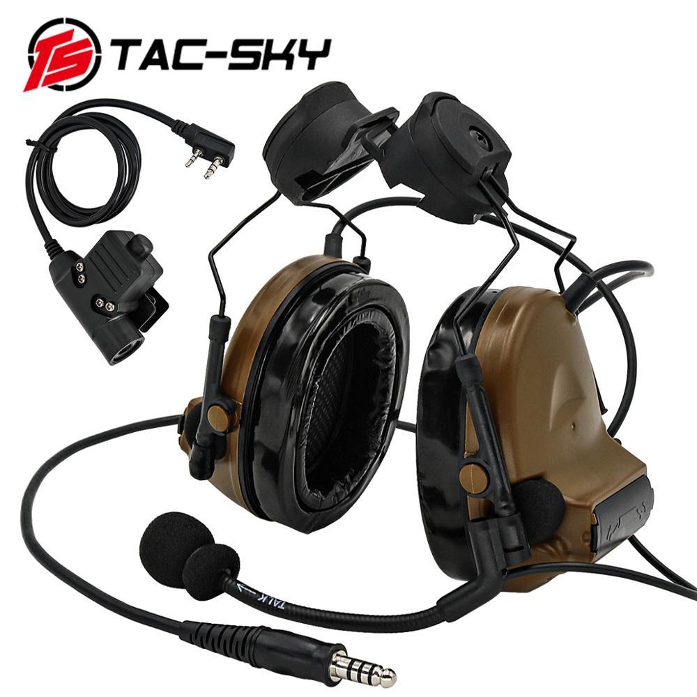 TAC -SKY COMTAC II Tactical Headset COMTAC II Helmet Stand Military Noise Cancelling Headphones and Tactical PTT u94ptt   CB