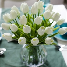 Meldel Artificial PU Tulip Flower DIY Bridesmaid Bouquet Fake Tulip Flower Party Festival Home Decor Wedding Planner Supplies