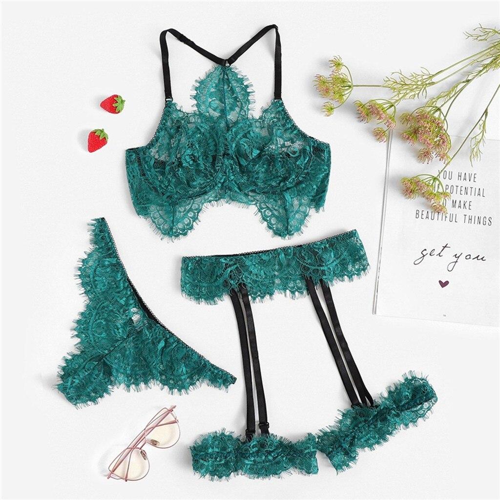 Lingerie sexy renda feminina, roupa íntima, transparente, erótica, 3 peças, trajes sexy, S-XL
