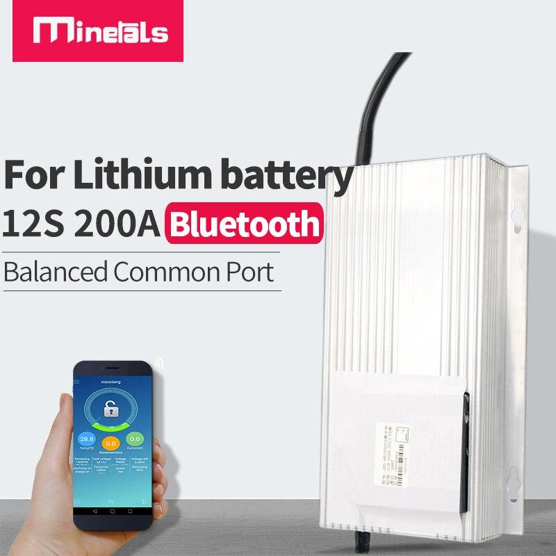 Minerales 12s bms bluetooth 45v smart 36V LFP4 200A carretilla elevadora eléctrica Placa de protección de batería de litio