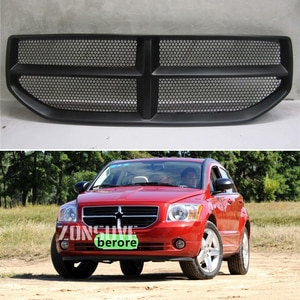 Use For Dodge Caliber 2008--2011 Year Carbon Fibre Refitt Front Center Racing Grille Cover Accessorie Body Kit Zonsuve
