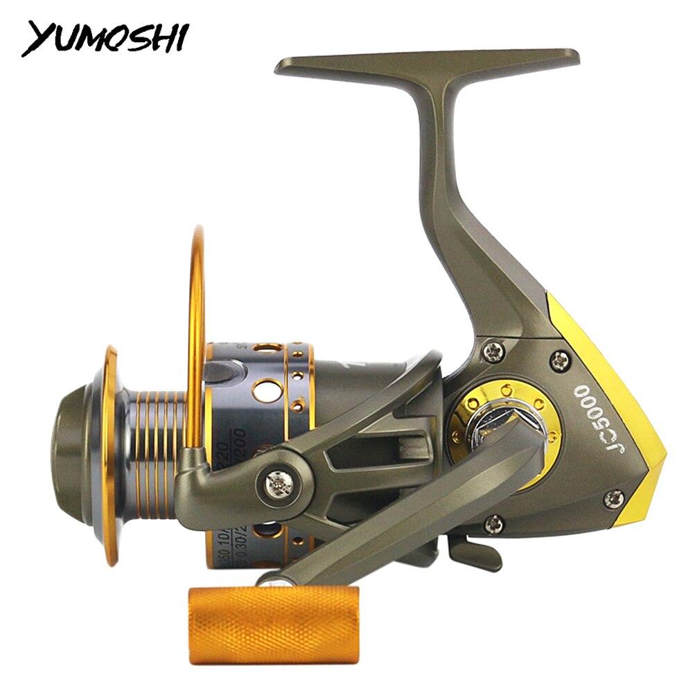 Carrete de pesca YUMOSHI, carrete de Metal, carrete de carrete giratorio 5,5 1 12BB, carrete de hilo de acero inoxidable, accesorios de pesca para agua salada