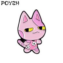 Dink cat Enamel Brooch Pink kitten In a floral skirt Funny Lapel Pin cute animals Flower skirt Custom Badge jewelry gift kids