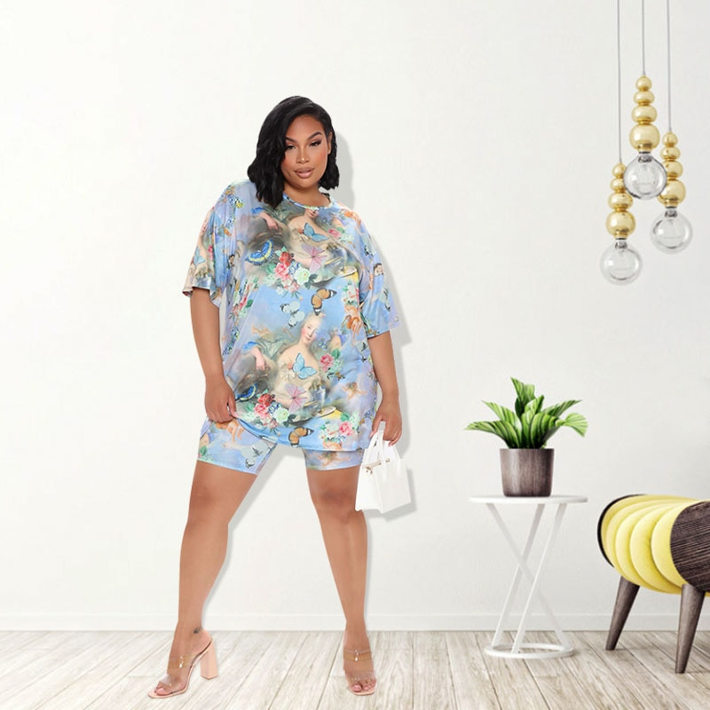 2021 New Two Pieces Sets Summer Woman Outfit Print Short Sleeve T Shirt with Shorts Loose Style Shorts Sets Casual Plus Size