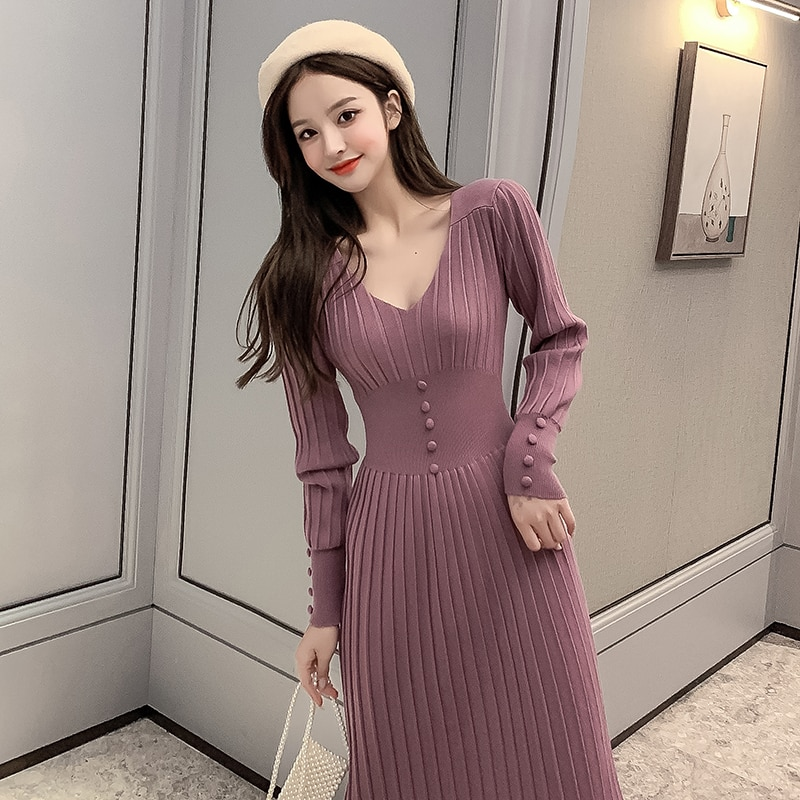 light-mature-style-light-luxury-ladies-knitted-dress-2020-autumn-new-product-french-bellflower