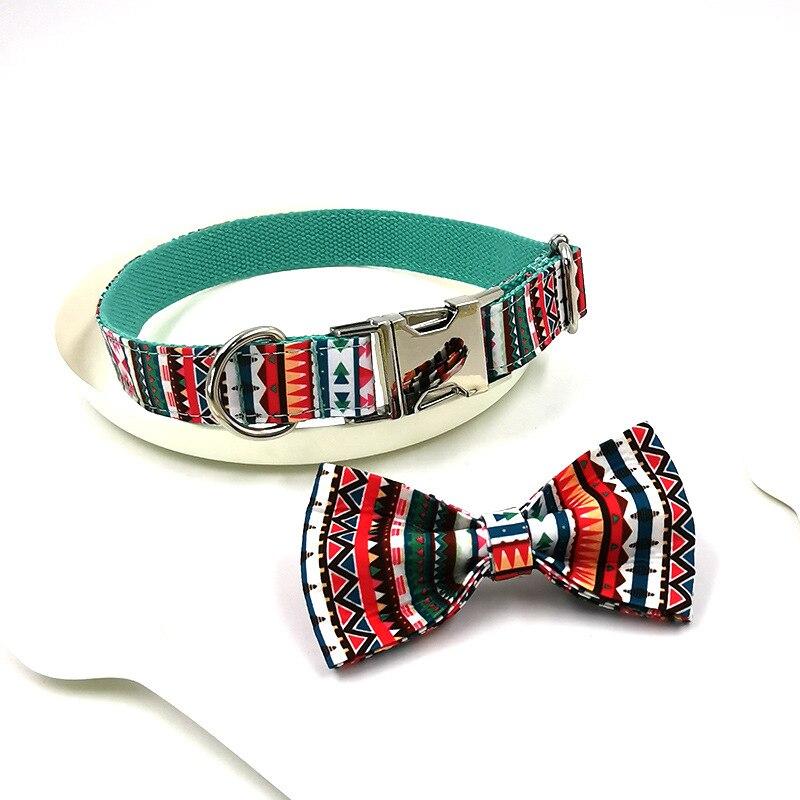 Collar de perro personalizado nacional, con pajarita, estampado geométrico, correa ajustable de...