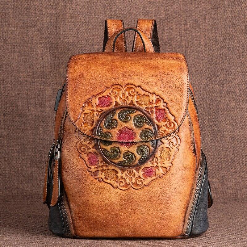 السيدات حقيبة ظهر أنيقة ريترو حقيقية حقيبة ظهر مصنوعة من الجلد للنساء جديد اليدوية تنقش حقيبة بطراز عتيق الصين نمط ظهره