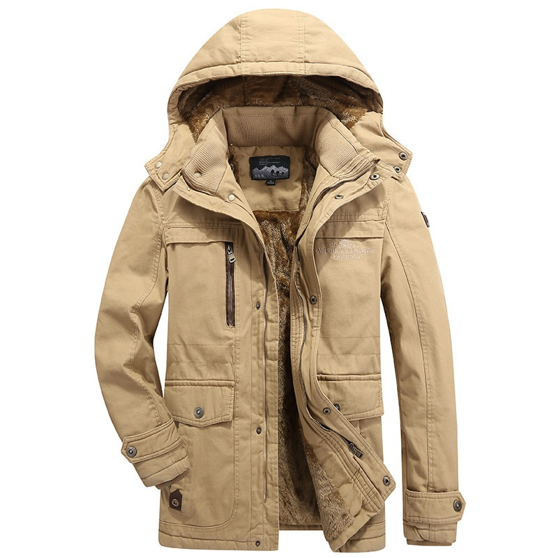 2019 Winter Thick Warm Fleece Hooded Parkas Jackets For Men's Cargo Clothes Coat Plus Size 4XL 5XL 6XL