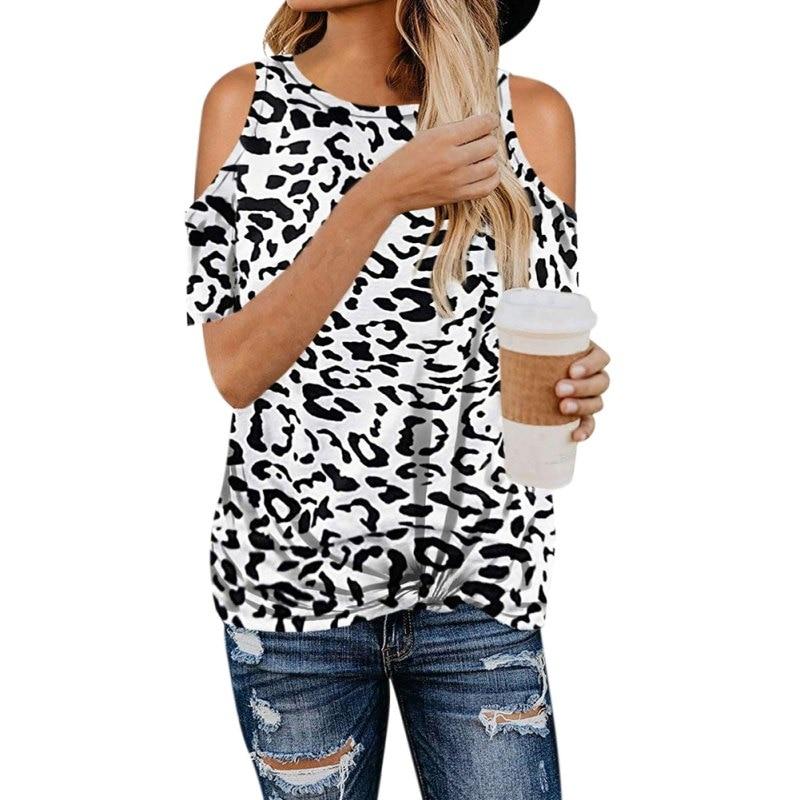 Summer Plus Size Women Leopard Print T Shirts Off Shoulder Short Sleeve T shirt Ladies Tops Fashion Clothing