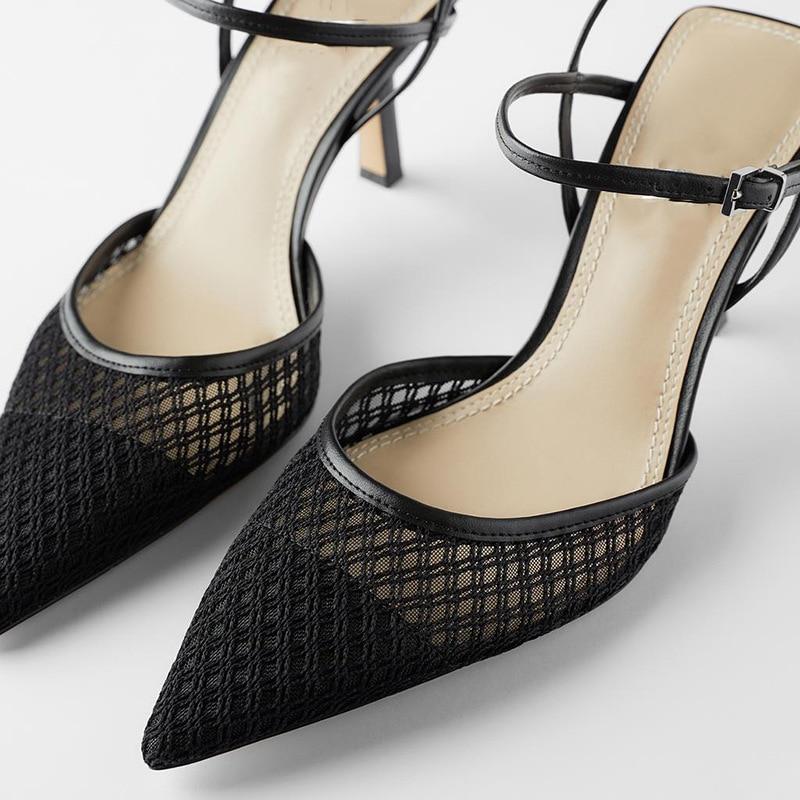 Женские туфли на шпильке, черные туфли-лодочки на высоком каблуке с острым носком, элегантные туфли с ремешком на пятке, сандалии на шпильке,...