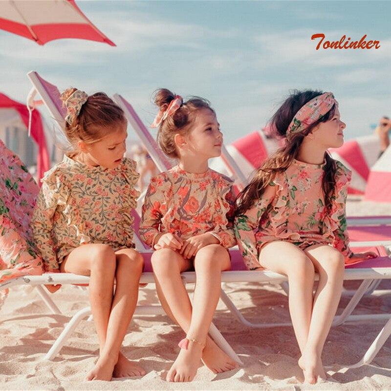 New Girl Long-Sleeved Flower Anti-UV Sunscreen Swimsuit+Shorts Suit Hot Spring Wimming Pool Entertainment Children Swimwear 2-8T