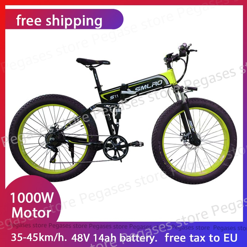 1000W eléctrico grasa de neumáticos de bicicleta 26 pulgadas plegable bicicleta eléctrica para playa bicicleta de montaña 7 velocidad nieve MTB plegable ebike para adultos