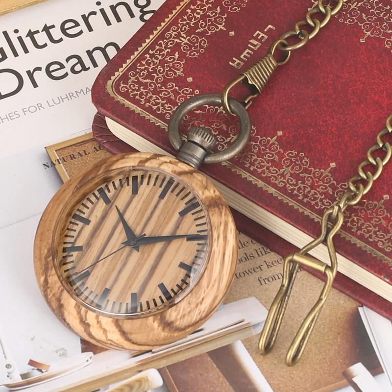 Reloj de bolsillo único leñoso cadena Retro madera redonda Dial analógico 12 horas Pantalla de cuarzo Pocketwatch colecciones de arte para hombres