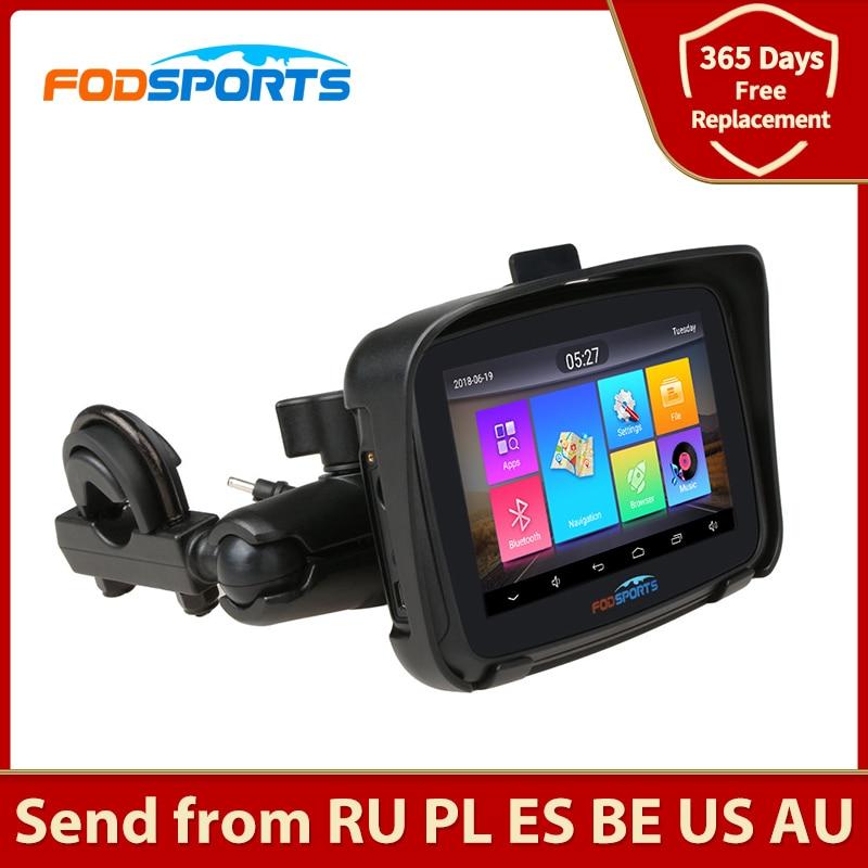 Fodsports-ملاح GPS للدراجات النارية ، 5 بوصة ، Android 6.0 ، 1 جيجابايت رام ، 16 جيجابايت ROM ، خريطة مجانية ، مقاوم للماء ، بلوتوث