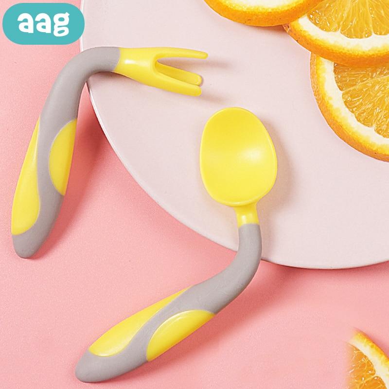 AAG, juego de tenedor cuchara de silicona flexible para bebé, vajilla de aprendizaje para niños, vajilla libre de BPA, cuchara para bebé, herramienta de alimentación, ayuda para niños