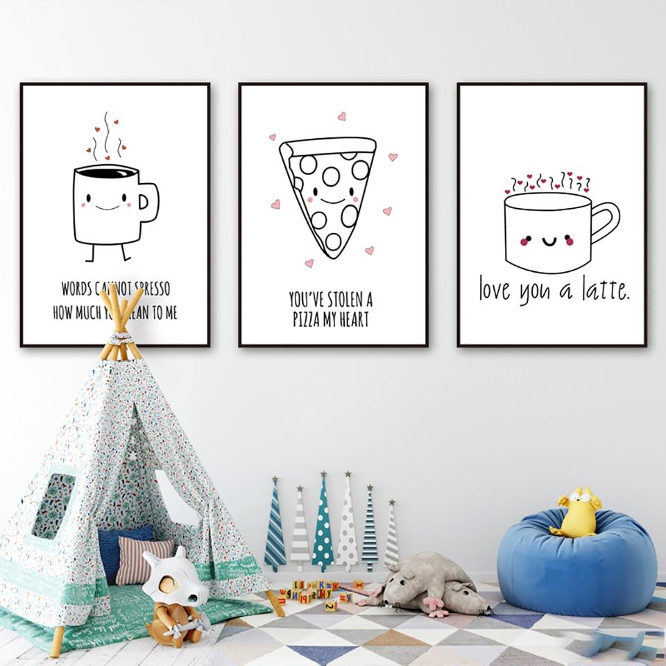 Cuadros de lienzo de arte de pared estampado pintura dibujo animado negro blanco taza de Cheesecake decoración del hogar nórdico módulo cartel restaurante