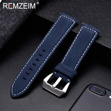 REMZEIM-Correa de reloj de cuero mate para hombre y mujer, accesorio de marca de lujo, color rojo, azul, verde, 18mm, 20mm, 22mm, 24mm