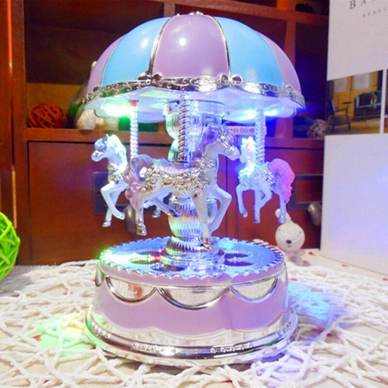 Vintage Horse Carousel Music Box Kids Toys Flash Light Musical Birthday Gifts US