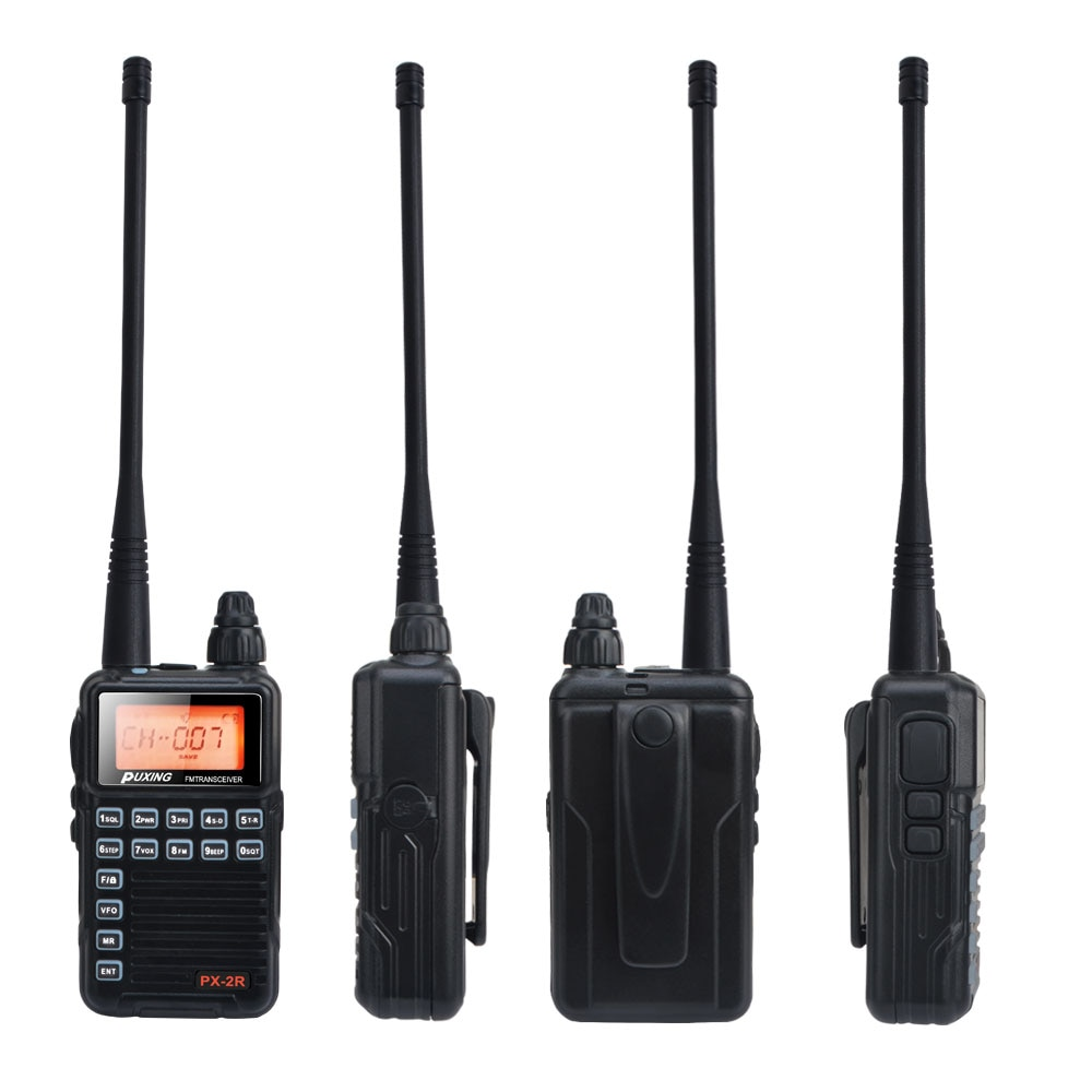 PX-2R VHF Mini Compact FM VOX Walkie Talkie 136-174MHz Single band Transmission, VHF UHF dual band reception 2W PX Radio