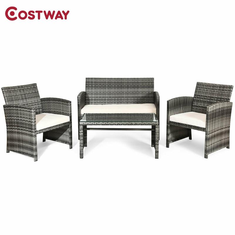 Maliye açık veranda 4 adet veranda hintkamışı mobilya seti üst kanepe cam masa ile HW63238