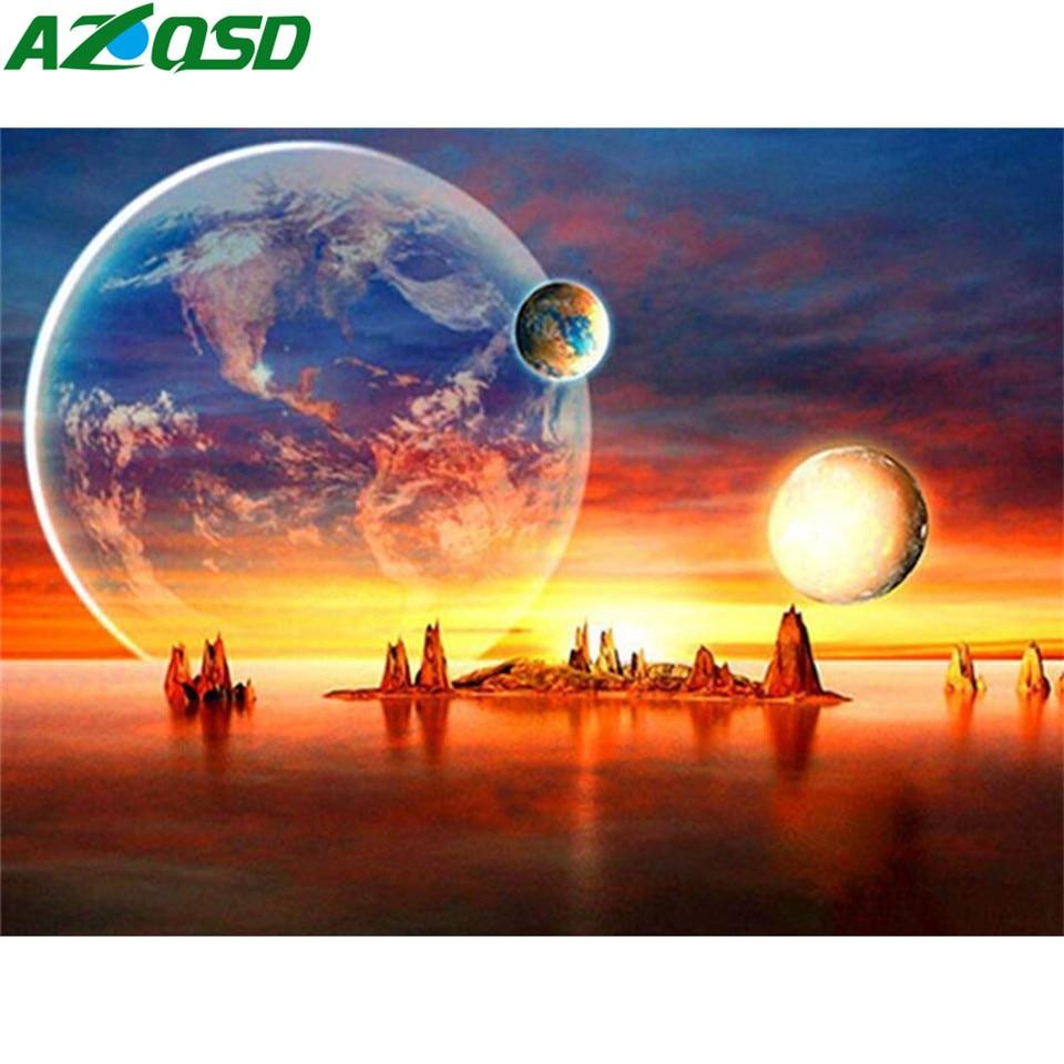 AZQSD pintura de diamante 5d atardecer diamante paisaje artístico bordado mosaico decoración del hogar regalo imagen de pedrería Kits completos