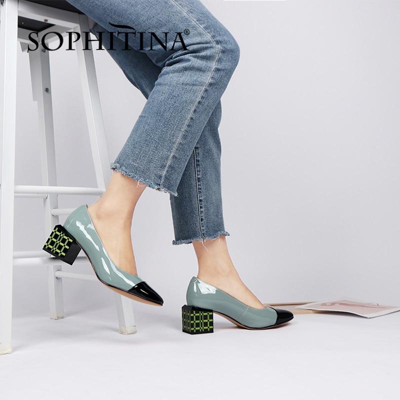 سوفيتينا حذاء نسائي عالي الجودة بكعب غريب من الجلد الأصلي نمط ناضج حذاء نسائي مستدير للربيع والخريف PC999
