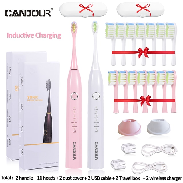 CANDOUR CD-5166 Sonic Electric Toothbrush USB Rechargeable adult Waterproof Ultrasonic automatic 5 Mode with Travel Tooth brush enlarge
