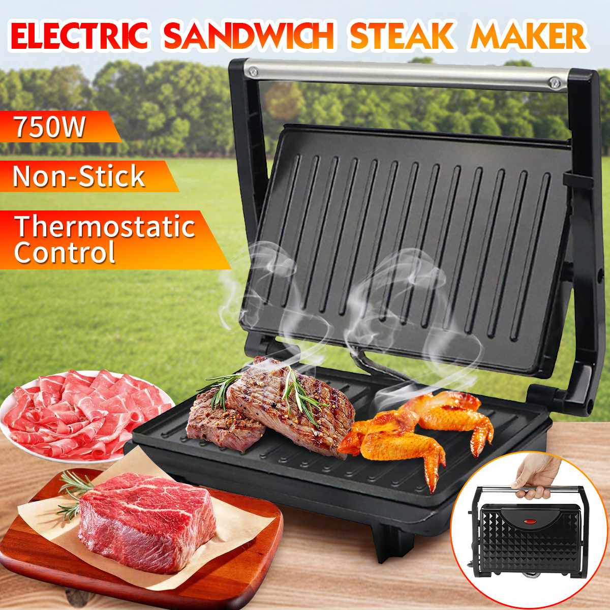 750W Steak Barbecue Machine BBQ Griddle Electric Hotplate Kitchen Appliances Smokeless Grilled Meat Pan Electric Grill kitchen equipment smokeless energy saving stainless steel electric induction griddle machine electrical contact grill