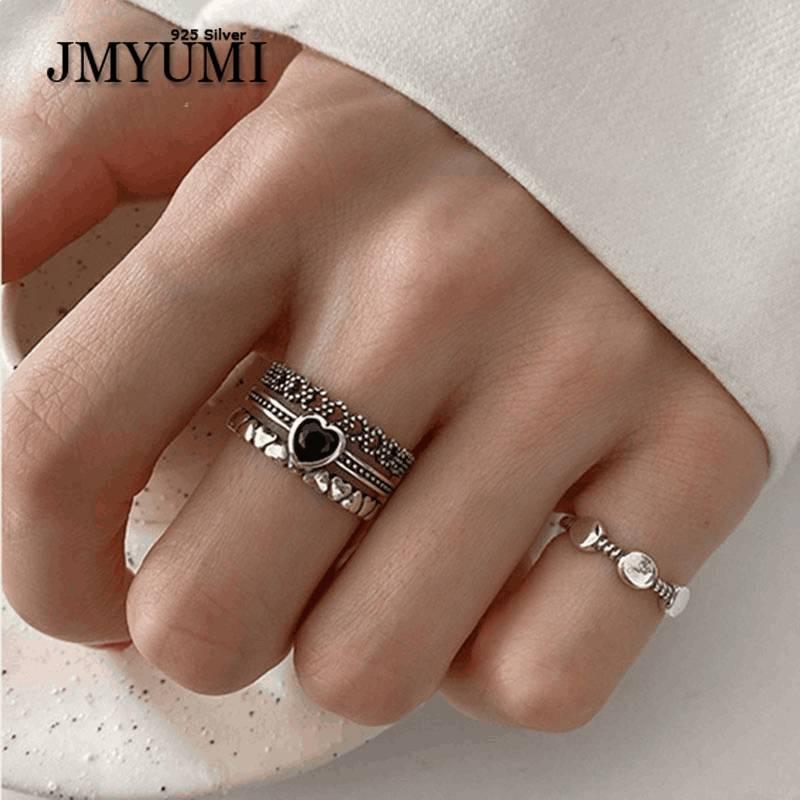 JMYUMI 925 пробы серебряные кольца для женщин пары винтажные модные Многослойные тайские серебряные ювелирные изделия подарки для вечеринок