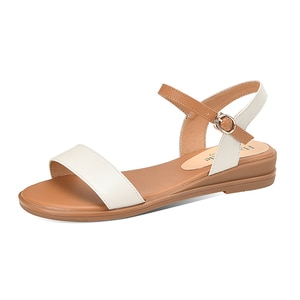 Genuine Leather Shoes Woman Buckle Wedges Sandals Casual Low Heels Shoes Summer Sandals Women Comfortable Ladies Shoes