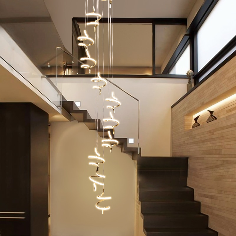 Gold chrome plating Modern led pendant lights modern design for living room villa hall spiral staircase Indoor hanging