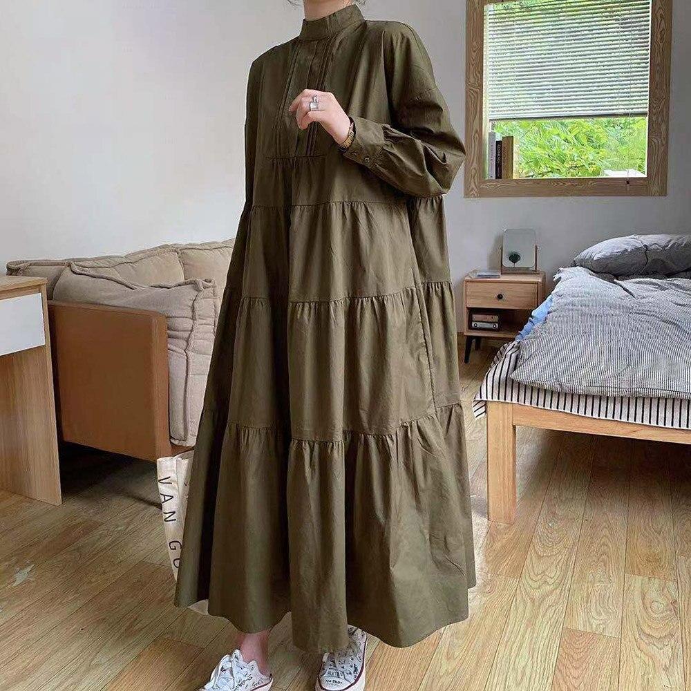 Autumn New 2021 Solid Color Womens Dress Half High Collar Korean Fashion Simplicity Loose Long Sleeve Long Womens Dress
