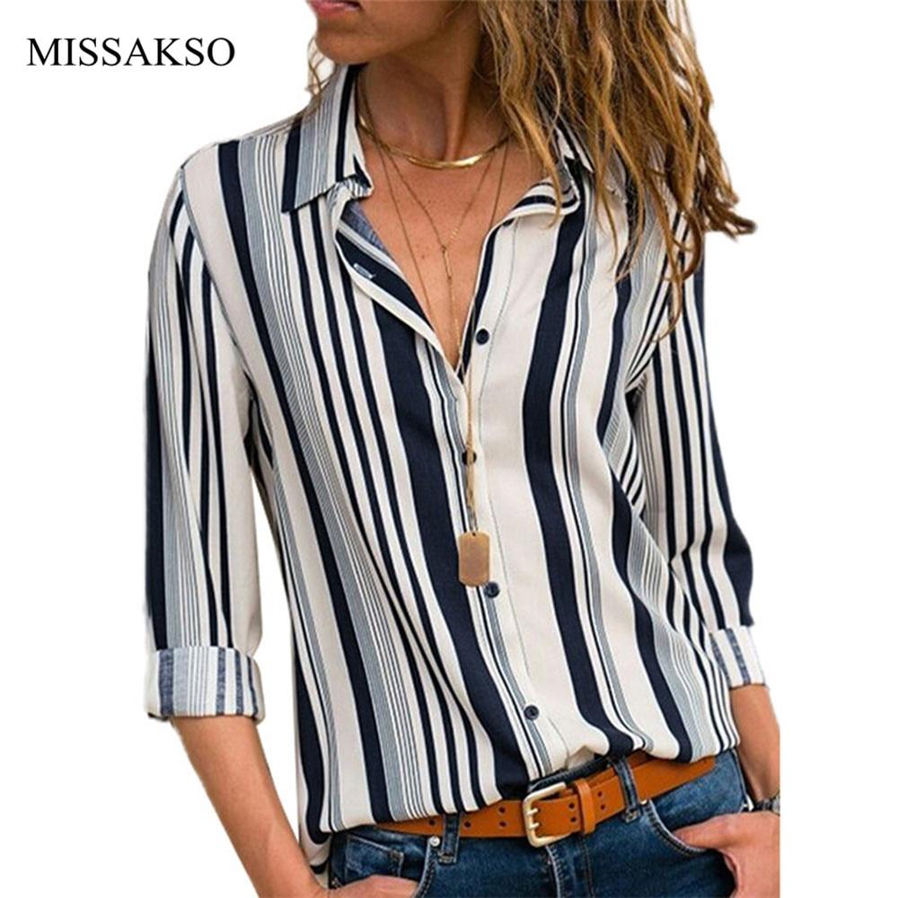 Camisas a rayas para Mujer, Blusas informales de manga larga, camisa de chifón de oficina para Mujer, blusa de otoño, Blusas holgadas de botones para Mujer, Top de talla grande