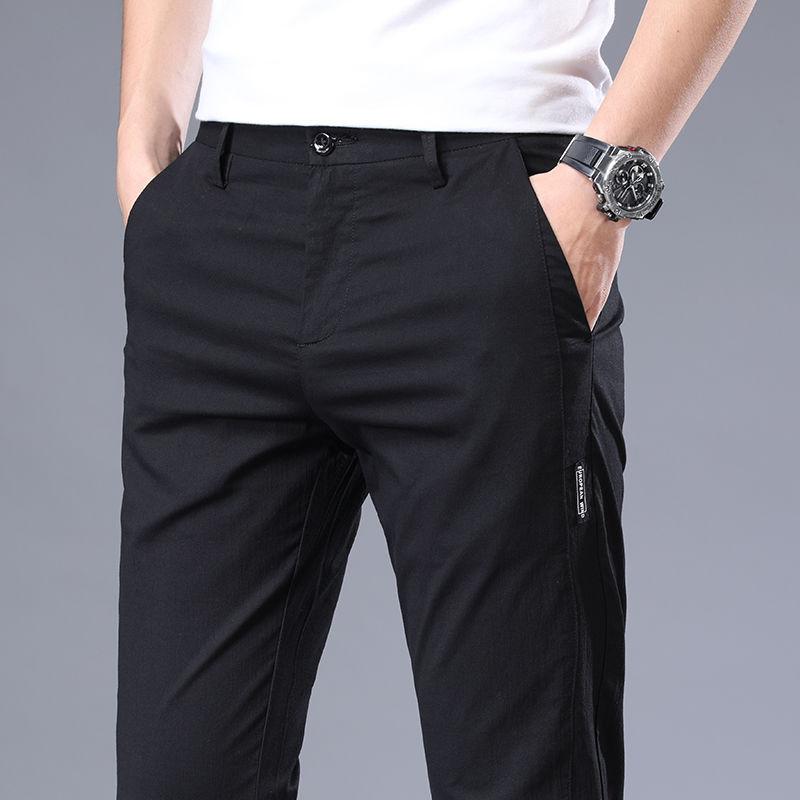 2020 Модные мужские повседневные брюки, зауженные брюки, деловые свободные прямые брюки, прямые брюки для мужчин, черные, серые, синие