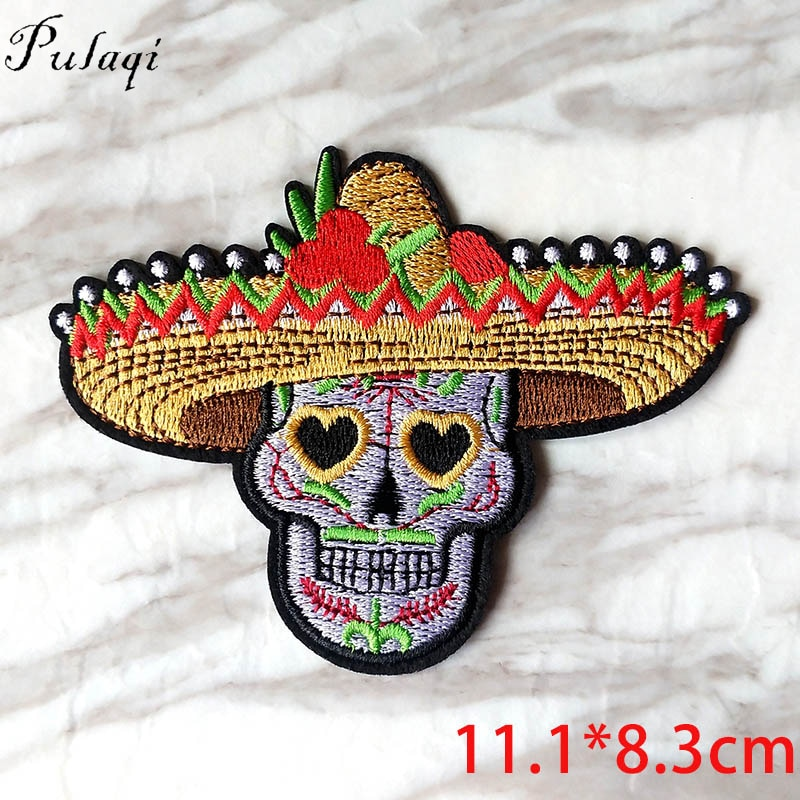 Straw Hat Skull Patch DIY Embroidery Iron On Punk Patches Rock Stripe Patch For Vikings Clothes Sticker T-shirt Applique