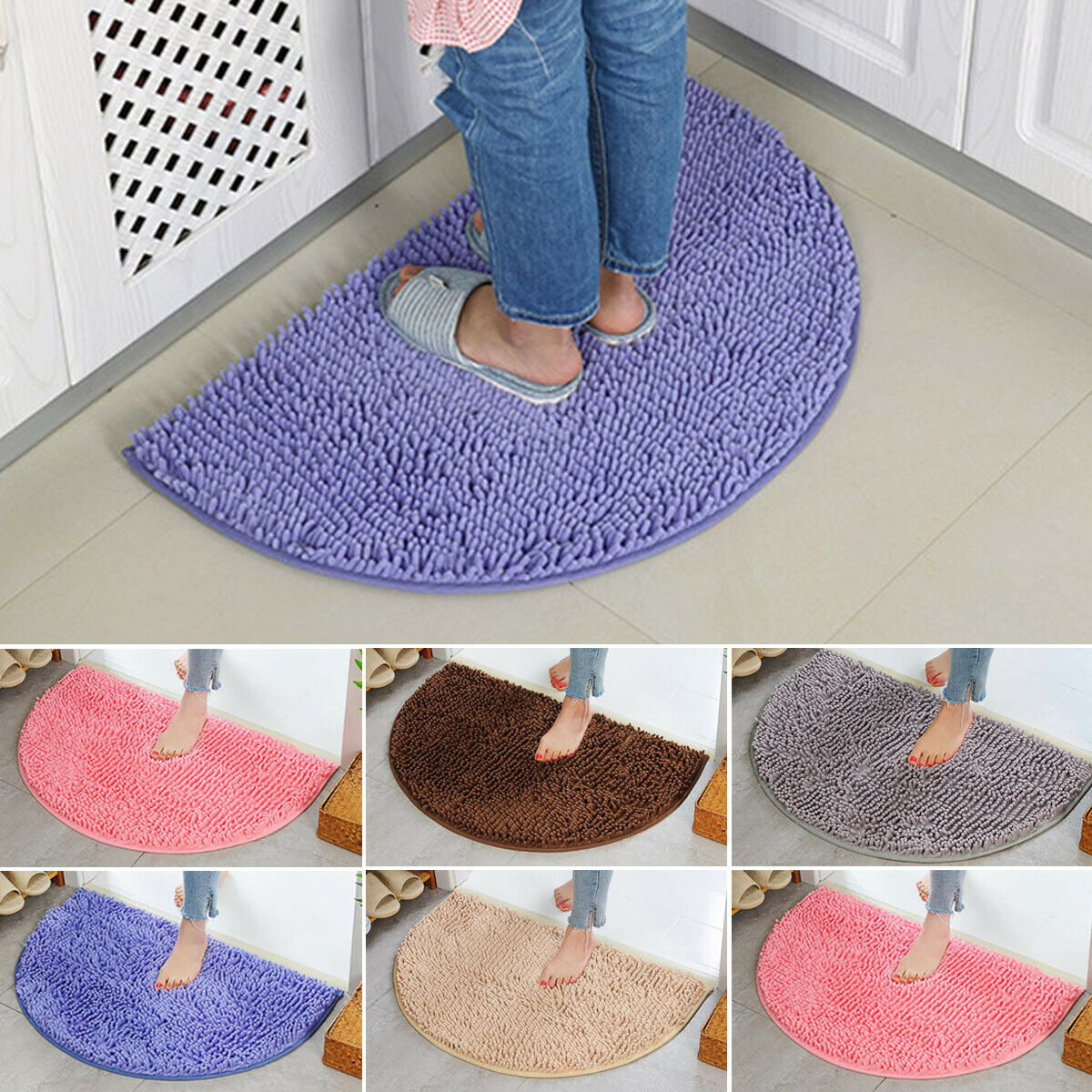 Nueva media luna ronda Semi círculo lavable a máquina de goma alfombra, tapete de baño