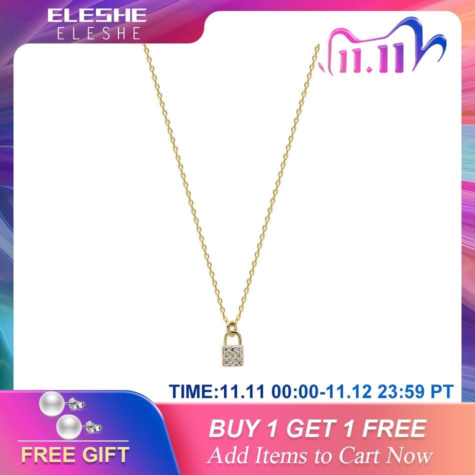Eleshe 925 prata esterlina minúsculos cz zircon bloqueio colar & pingente 18k banhado a ouro colar de corrente de afirmação para mulheres jóias finas