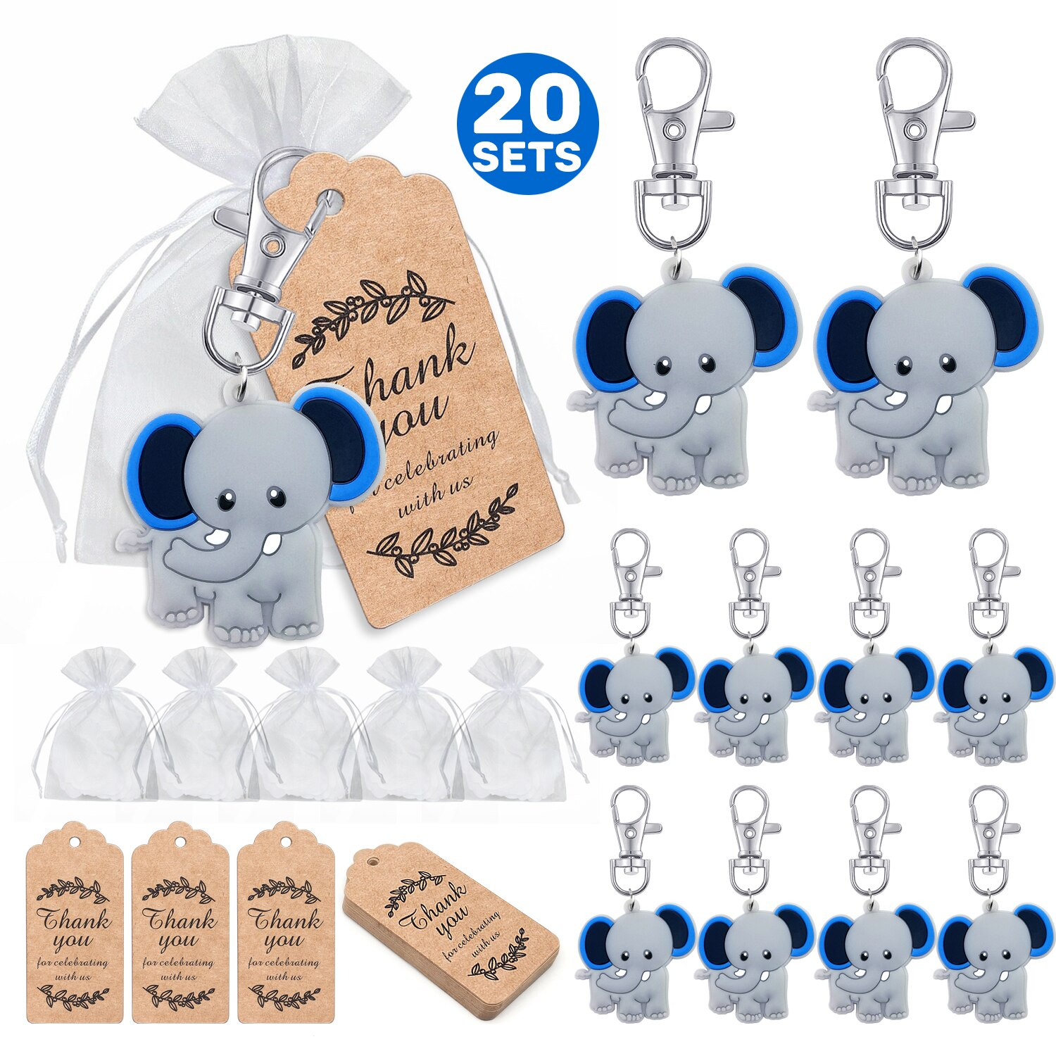 Купить с кэшбэком A group of 20 babies welcome the party to give back gifts, various colors of baby elephant keychain + transparent hard sandbag +