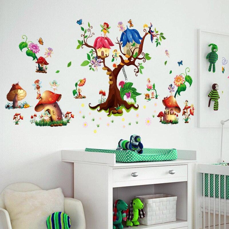 Бабочки, цветы, фея, Laraine, наклейки на стену, дерево и гриб, зеленые листья, наклейки для детской комнаты, для девочек, для гостиной, спальни