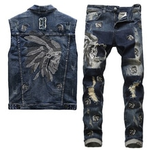 2021 European Style Men's Sets Spring Embroidered Indian Stretch Blue 2 Pieces Maching Set Vest and