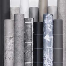 Новые цементно-серые льняные водонепроницаемые настенные наклейки, самоклеящиеся однотонные настенные шкафы для спальни и общежития, мебе...