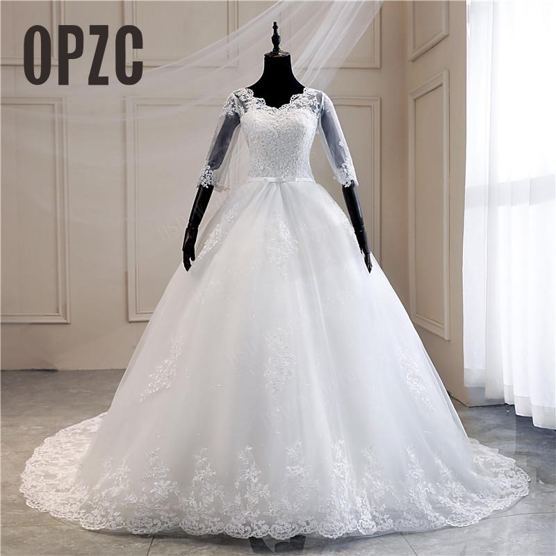 תמונה אמיתית תחרה רקום אורגנזה טול מתוקה כבויה לבן שנהב אופנה 100cm ארוך רכבת חתונת שמלת כלות בתוספת גודל 75